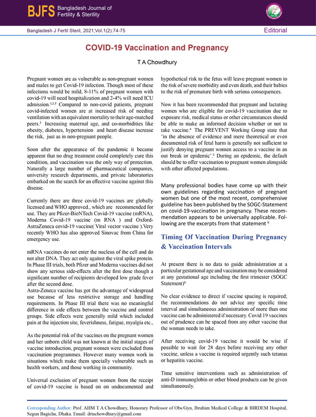 Bangladesh-J-Fertil-Steril_2021_Vol_1_2_Editorial